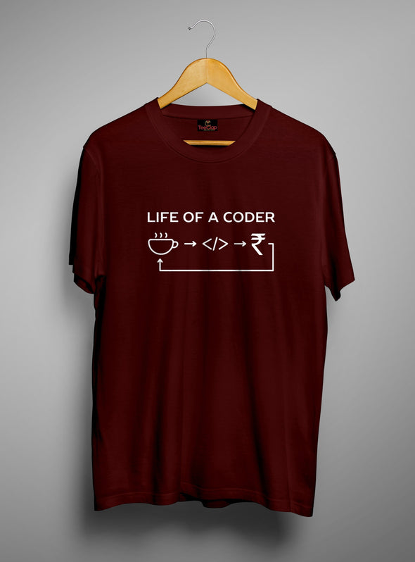Life Of A Coder | Men's Round Neck | Graphic Printed Premium T-Shirt - TeeClap