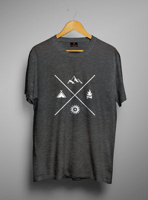 Mountain Camping Tent | Men's Round Neck | Graphic Printed Premium T-Shirt - TeeClap