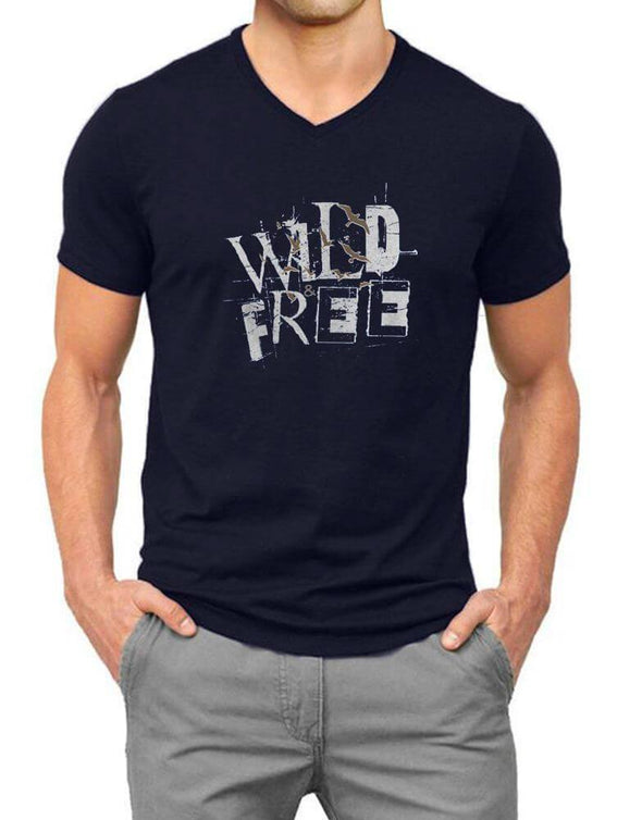 Wild Free | Men'S V Neck T Shirt - TeeClap