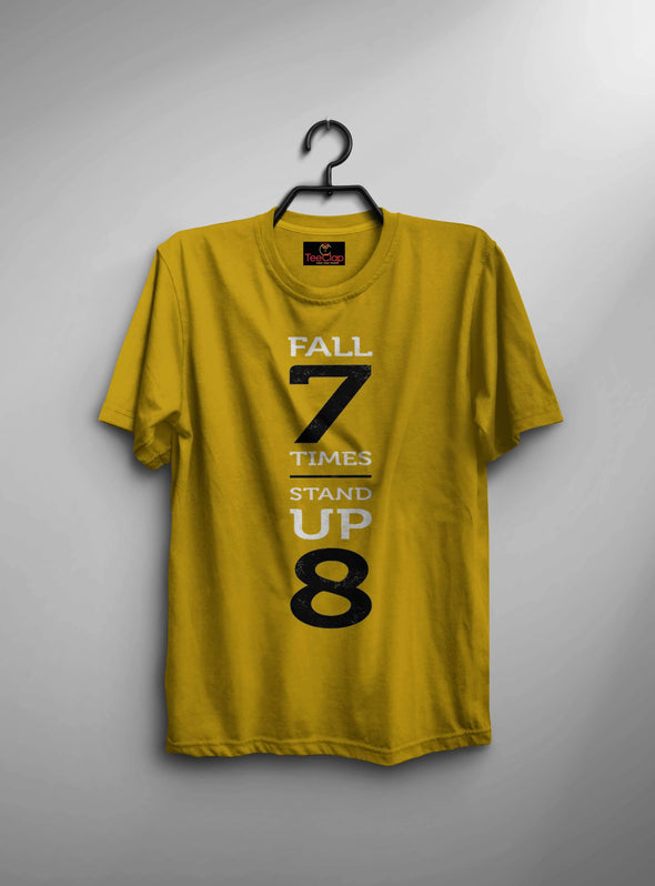 Fall 7 Times Stand Up 8 | Men'S Round Neck T Shirt - TeeClap