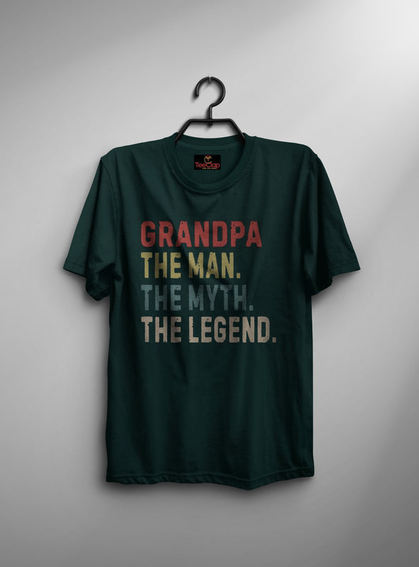 Grandpa The Legend | Men's Round Neck | Graphic Printed Premium T-Shirt - TeeClap