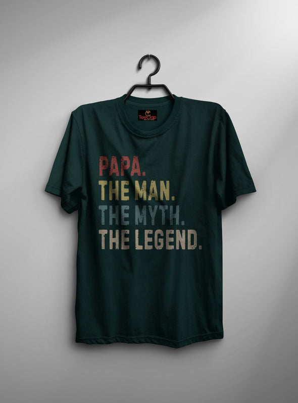 Papa The Legend | Men's Round Neck | Graphic Printed Premium T-Shirt - TeeClap
