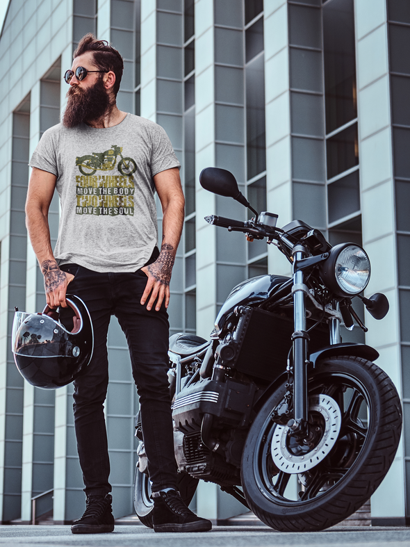 Men's Premium quality Printed T-shirt  Biker's Four Wheel Move the Body