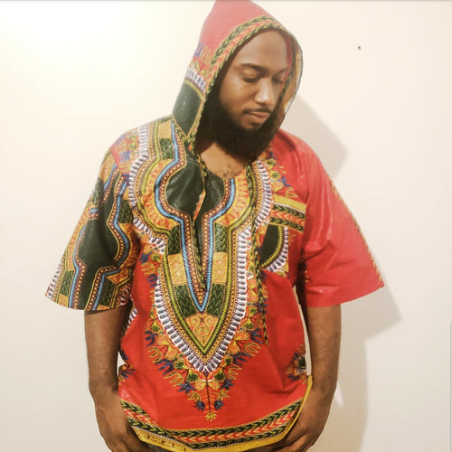 Hooded Shirt-Dashiki Print