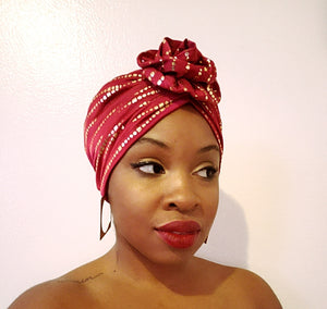 Solid Color Turban w/ Metallic Gold Details