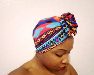 Multi-Colored Large Triangular Printed Turban