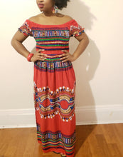 Long Dashiki Print Short Sleeve Dress w/ Elastic Waist-Red