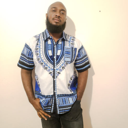 Dashiki Print Button Up Shirt