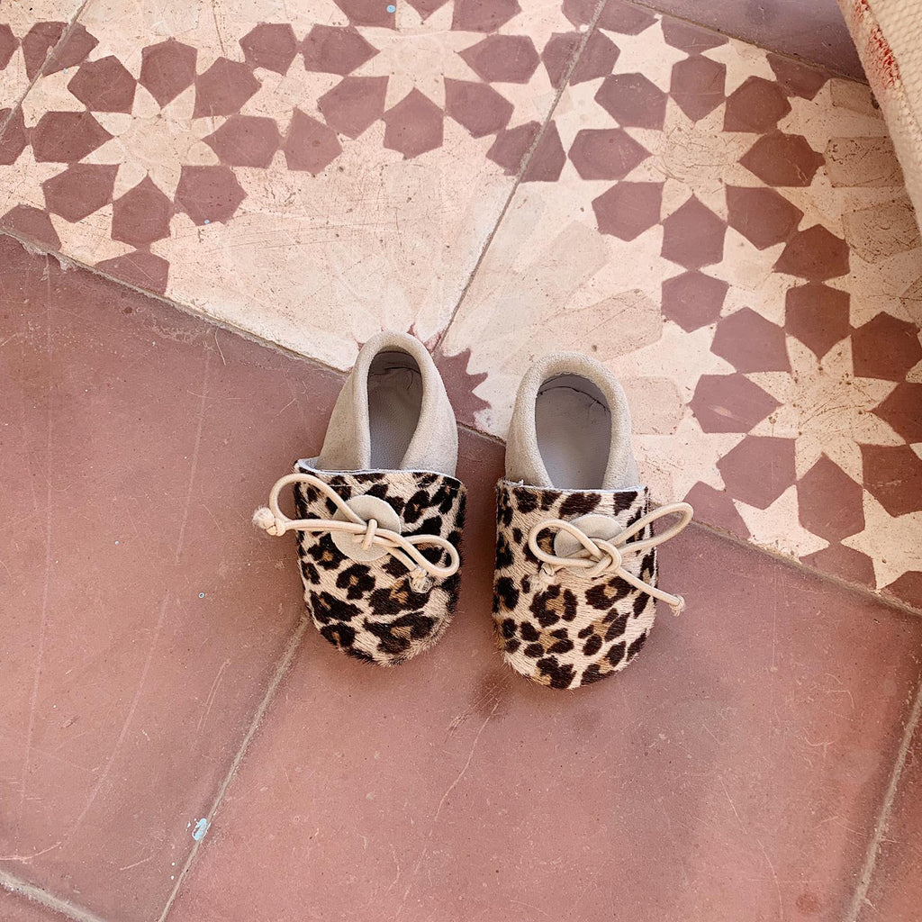 Mini Babouches Leopard/nude
