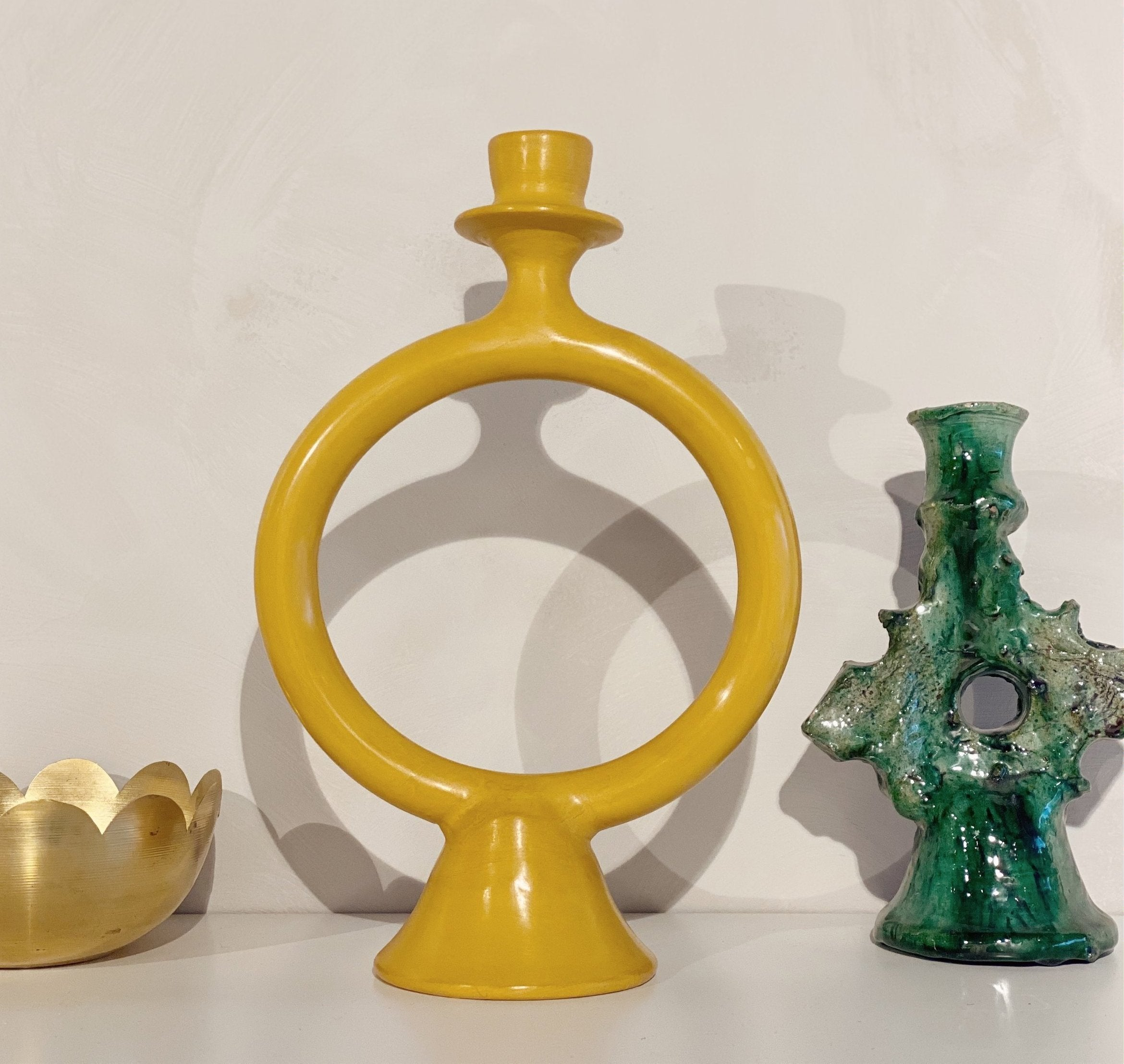 Tadelakt candle holder mustard