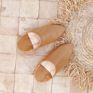 Leather mules Camel