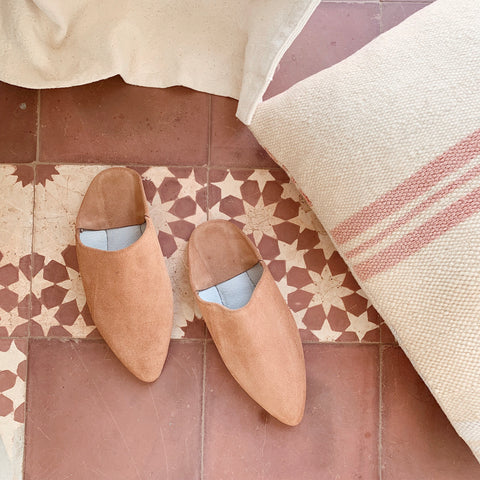 Suede Mules Sand