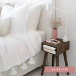Load image into Gallery viewer, Pom pom blanket white L