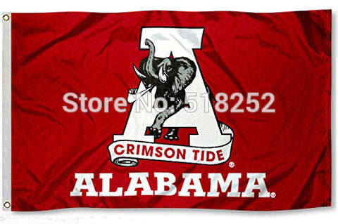 Alabama Crimson Tide new logo Flag 3x5FT 150X90CM NCAA Banner 100D Polyester Custom flag grommets, - Don't Abbreviate Me