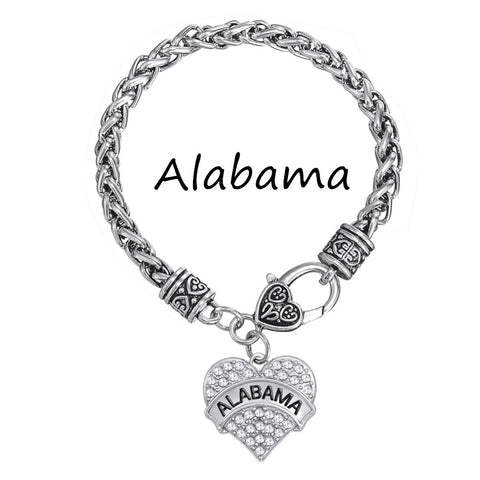 my shape   Alabama State University Pave Heart Charm Love Bracelet Teen Girls Jewelry Collection - Don't Abbreviate Me
