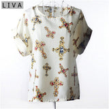 Unabbreviated Big Dot Blouse Summer Short Sleeve Chiffon - Don't Abbreviate Me