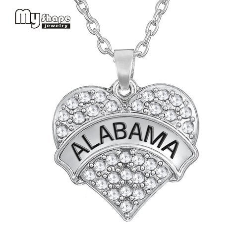 my Shape rhodium plated Engrave white crystal stone Alabama jewelry heart necklace - Don't Abbreviate Me