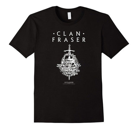 Outlander Clan Fraser with Emblem Men'S High Quality Tees Top Tee T-Shirts Casual Brand Clothing Cotton Hot Sell 2018 T Shirt - Don't Abbreviate Me