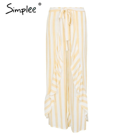 Simplee Stripe split wide leg pants women bottom Sash ruffle high waist trousers Summer beach casual pants female 2019 - Don't Abbreviate Me