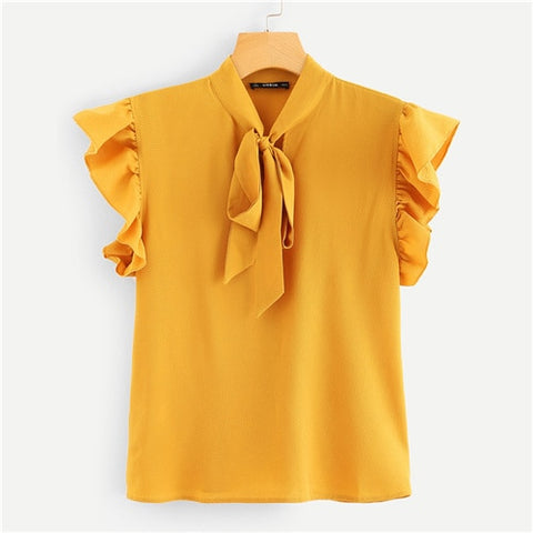 Unabbreviated Mustard Elegant Office Lady Flounce Shoulder Tied Neck Floral Solid Ruffle Blouse - Don't Abbreviate Me