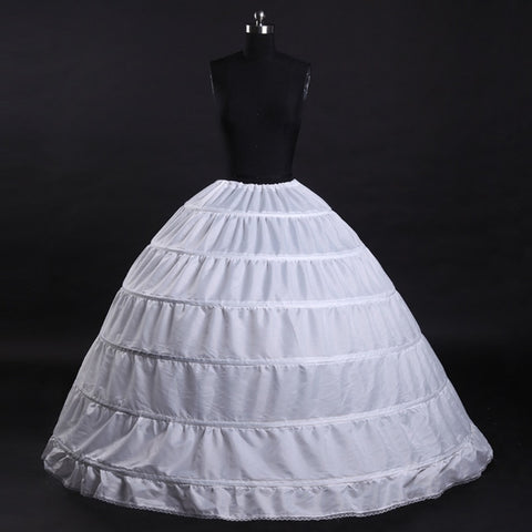 6 Hoops White Petticoats Bustle Ball Gown Wedding Dress Underskirt Bridal Crinolines - Don't Abbreviate Me