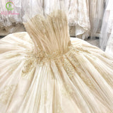 SSYFashion New Luxury Wedding Dress Bride Romantic Shell Collar Sleeveless Lace Embroidery Beading Court Train Weddding Gown - Don't Abbreviate Me