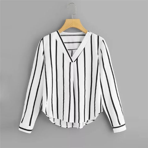 Unabbreviated Long Sleeve V Neck Irregular Stripe Shirt Women Casual Tops And Blouses - Don't Abbreviate Me