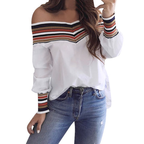 Unabbreviated Autumn Casual Multicolor Long Sleeve Off Shoulder - Don't Abbreviate Me