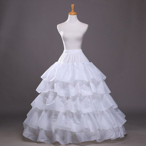 Womens 5 Slip Big Ruffles 4 Hoops Petticoats Mermaid Crinoline Skirt White Ball Gown Underskirt Bridal Wedding Dress Elastic