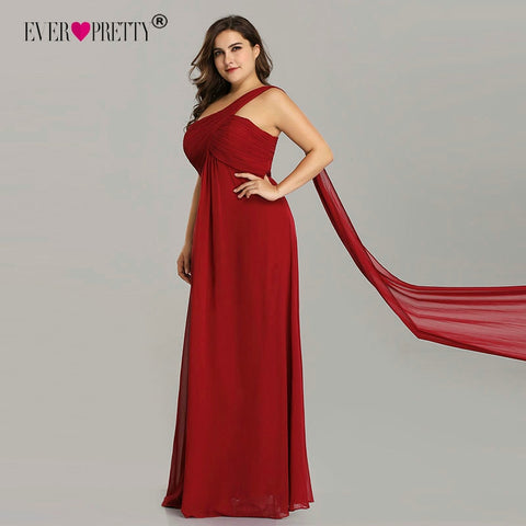 Plus Size Evening Dresses Ever Pretty EP09816 One Shoulder Ruffles Special Occasion Weddings Guest Party Gowns Robe De Soiree - Don't Abbreviate Me