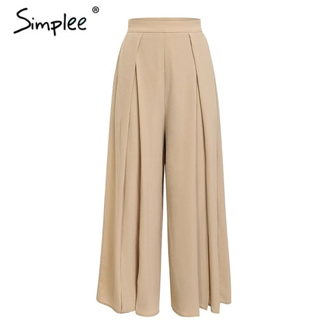 Simplee Elegant women summer pants Wide leg elastic high waist split trousers Casual streetwear fashion female palazzo pants - Don't Abbreviate Me