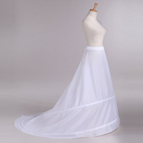 Womens Mermaid Floor Length Trailing Petticoats Crinoline 2 Hoops Ball Gown Underskirt Elastic Waist Drawstring Wedding Dress