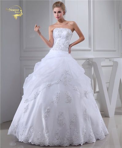 Jeanne Love A Line Strapless Wedding Dresses 2019 Bridal Gowns Applique With Beading White Robe De Mariage Plus Size JLOV75957 - Don't Abbreviate Me
