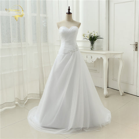 New Arrival 2019 Wedding Dresses Sweetheart A Line Rhinestone Beading Bridal Gown Vestidos de Novia Plus Size Lace Up 5981982 - Don't Abbreviate Me