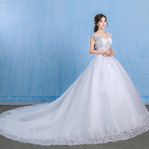 Luxury Plus Size Wedding Dress Elegant Lace Appliques V-neck Beading Wedding Gowns 2019 Crystal Lace Up White Vestido De Noiva - Don't Abbreviate Me