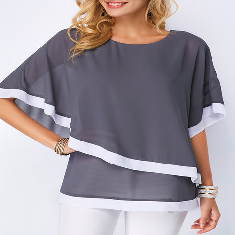 Unabbreviated Summer Casual Women's Chiffon Shirt Bat Sleeve Stitching Irregular Loose Chiffon Shirt Tops Women's Plus Size Blouse - Don't Abbreviate Me