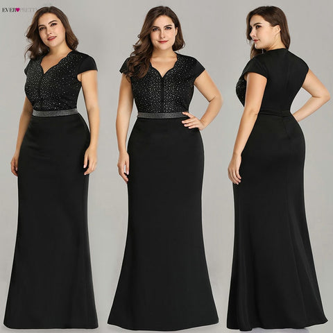 Plus Size Black Evening Gowns Ever Pretty EZ07623 2018 Elegant Mermaid Sparkle V Neck Beaded Long Formal Gowns For Wedding Party - Don't Abbreviate Me