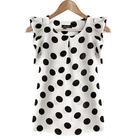 Unabbreviated Dots Blouse Women Casual Chiffon Shirt Sleeveless Ruffle Sleeve Shirt Summer Tops Black White - Don't Abbreviate Me