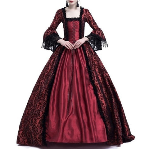 Women Medieval Vintage dress S~3XL Renaissance victorian Dress elegant lace Large Bell Sleeve Cosplay Costume party dresses lady - Don't Abbreviate Me