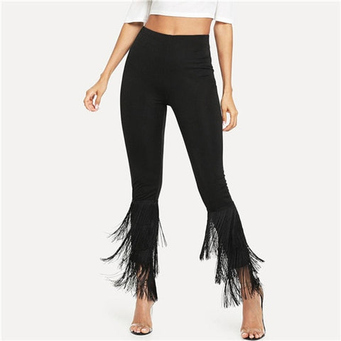 Sheinside Black Tiered Layered Fringe Hem Skinny Pants Elegant Crop Trousers Women Stretch Capris 2019 High Waist Womens Pants - Don't Abbreviate Me
