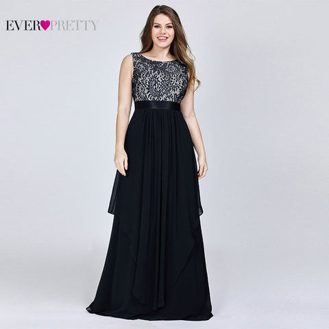 Plus Size Bridesmaid Dresses Ever Pretty EP08217 Lace A-line Sleeveless Navy Blue Ruffles Long Cheap Prom Party Gowns 2019 - Don't Abbreviate Me