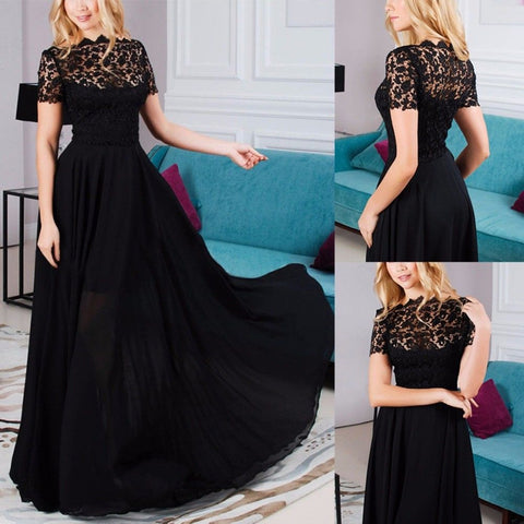 New Fashion Women Dress Clothes Elegant Lady Lace High Waist Long Formal Wedding Ball Gown Party Prom Bridesmaid Black Dress - Don't Abbreviate Me