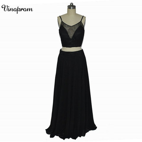 Classic Black 2 Pieces Bridesmaid Dresses Spaghetti Straps Backless Can Be Custom With Your Own Design 2018 - Don't Abbreviate Me