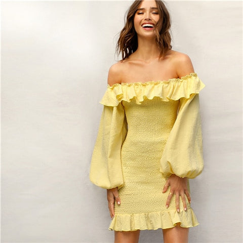 Unabbreviated Boho Yellow Ruffle Off Shoulder Lantern Sleeve Smocked Party Dress - Don't Abbreviate Me