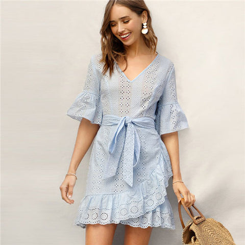 Unabbreviated Blue Bell Sleeve Ruffle Wrap Hem Belted Schiffy Dress Women Summer Boho V Neck Half Sleeve Cotton A Line Mini Dress - Don't Abbreviate Me