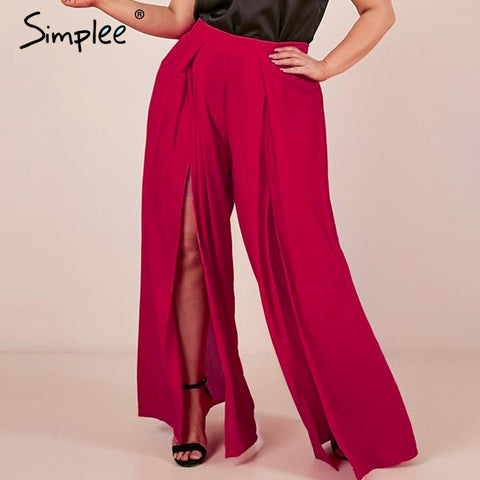 Simplee Plus size women summer pants Wide leg high waist split trousers Casual streetwear fashion female palazzo pants 2019 - Don't Abbreviate Me