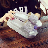 Women Summer Home Slippers Flip Flops Peep Toe Sandals Bling Glitter Platform Thick Bottom Sandals Ladies Shoes Zapatos Mujer