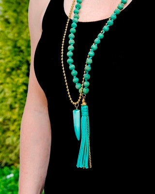 TURQUOIS TOOTH MALA NECKLACE
