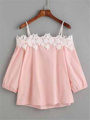 Lace Off Shoulder Blouse - Veignity