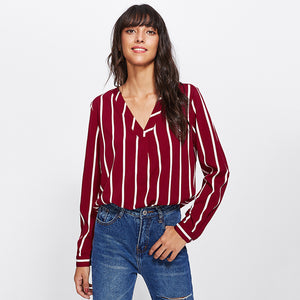 Red Striped Long Sleeve Casual Blouse - Veignity